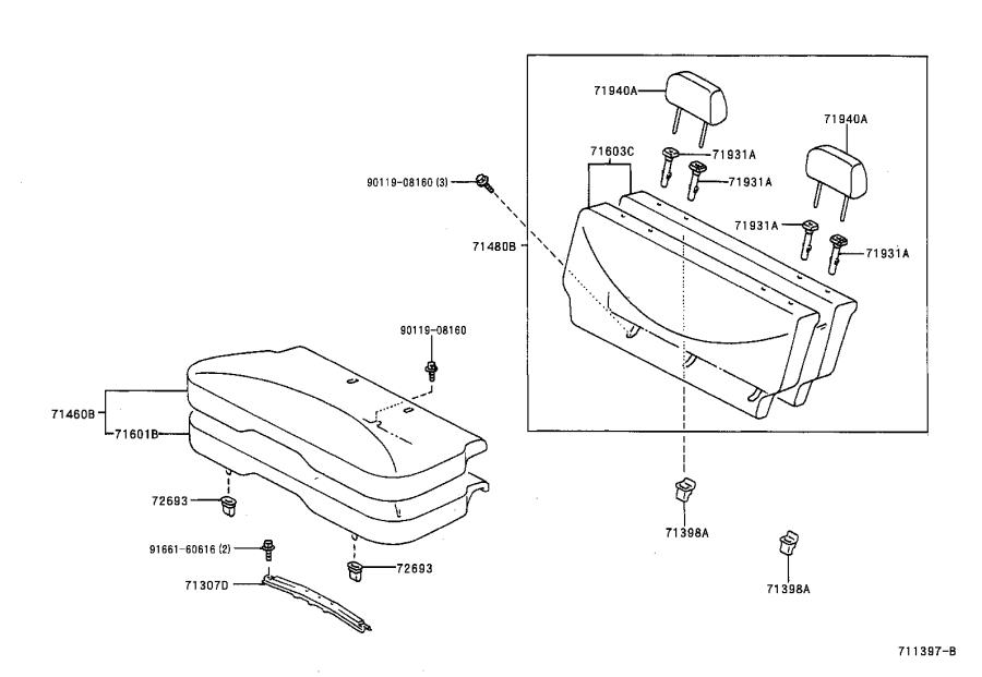 Toyota Echo Pad sub-assembly, rear seat back with cover