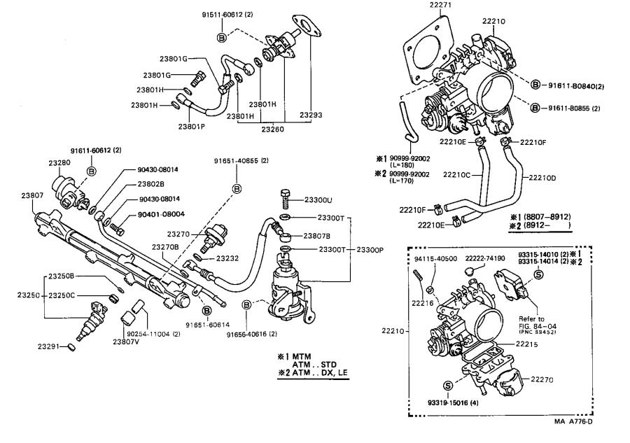 Toyota Camry Fuel Injector. Injector Set, Fuel