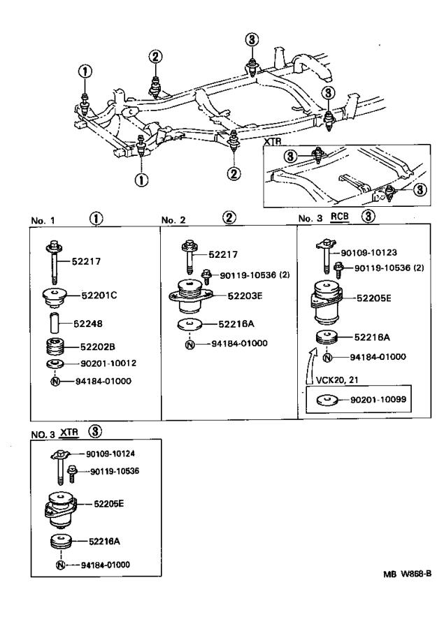 Toyota T100 Cushion sub-assembly, cab mounting, no. 3