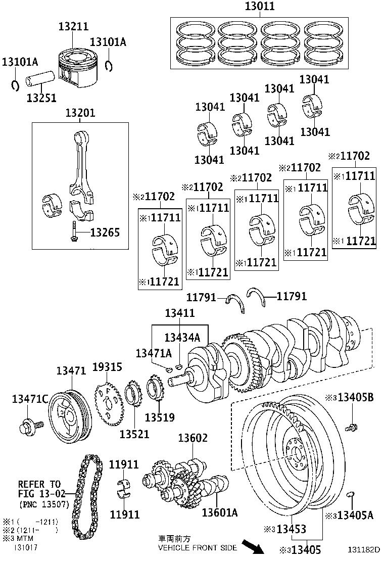 2009 Toyota Camry Bearing, crankshaft. Mark 3. Manual