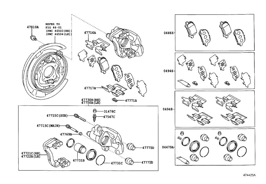 2000 Toyota Camry Boot, bush dust(for rear disc brake