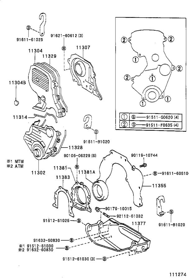 Toyota Celica Engine Timing Cover Gasket (Rear