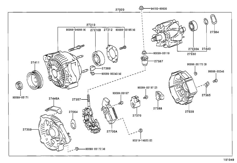Toyota Echo Holder, alternator, with rectifier. Frp, name