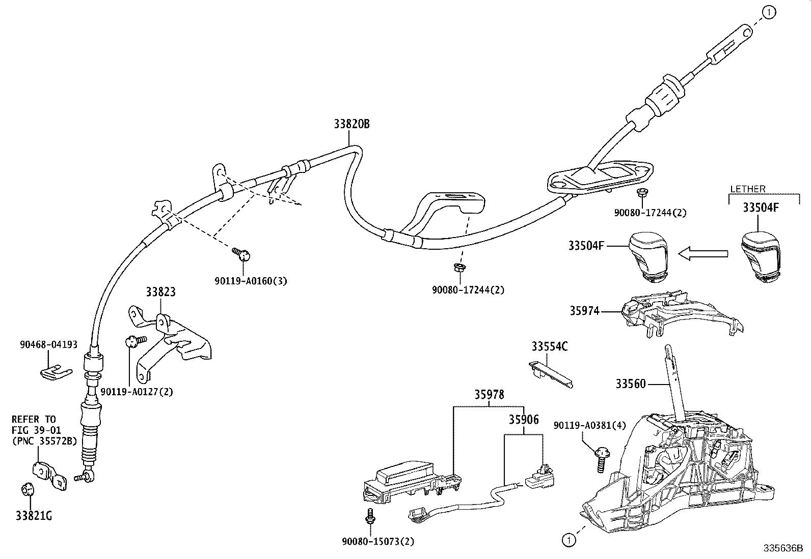Toyota Camry Automatic Transmission Shift Lever Unit