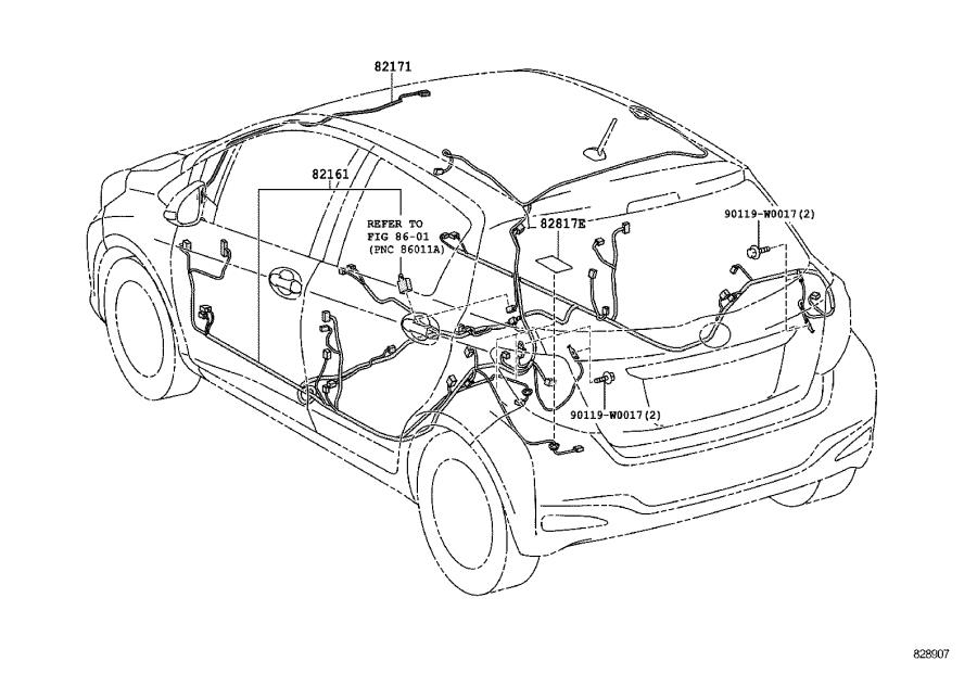 Toyota Yaris Wire, roof, no. 1. Wiring, clamp, connector