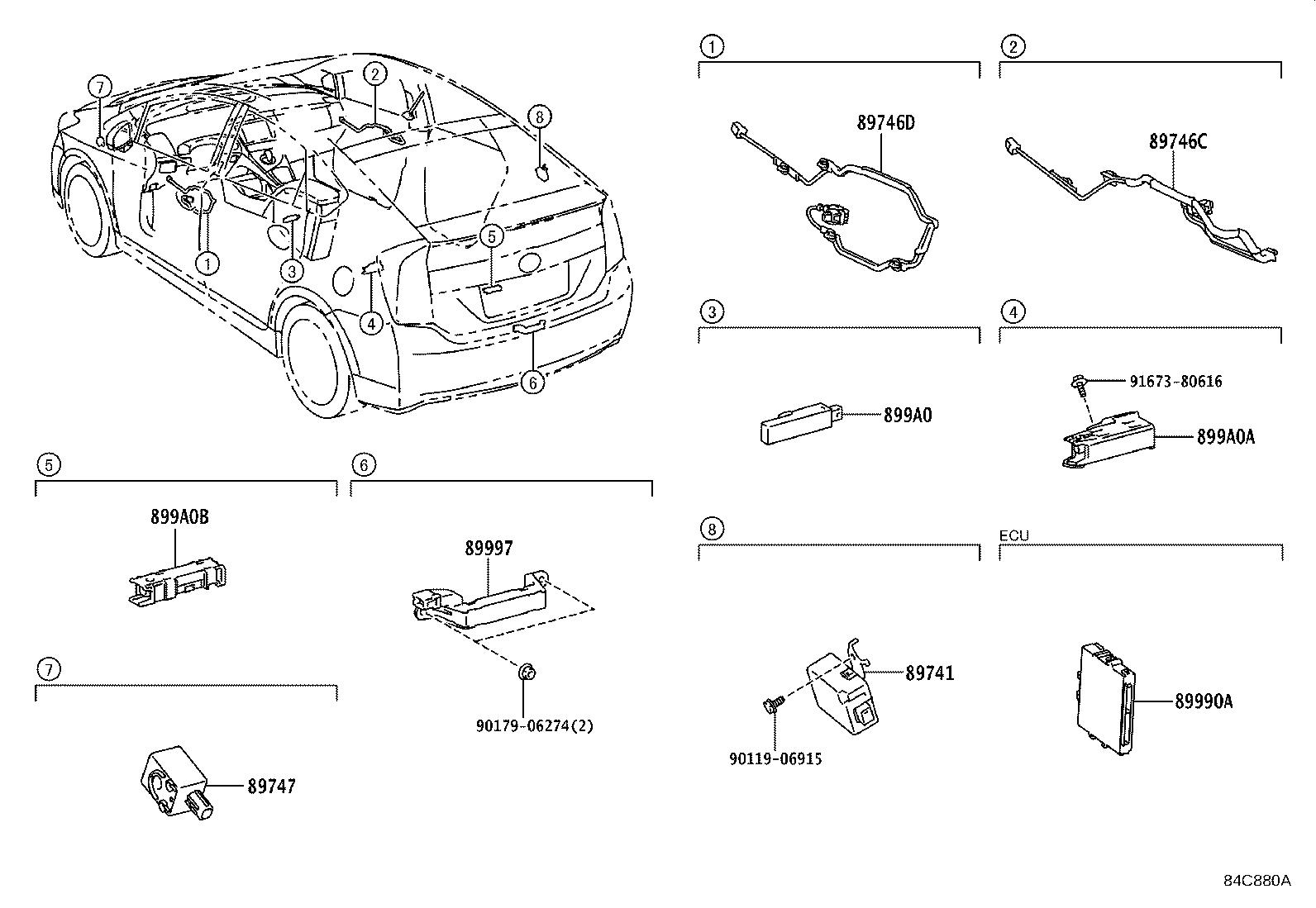 Toyota Prius Harness, electrical key wire, no. 2. Wireless