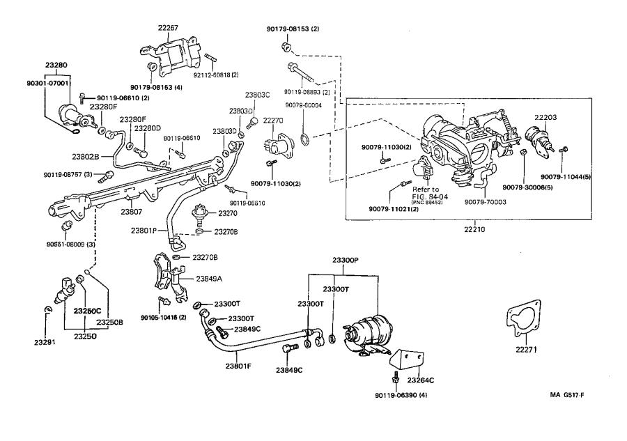 Toyota Supra Clamp, fuel filter earth. System, injection