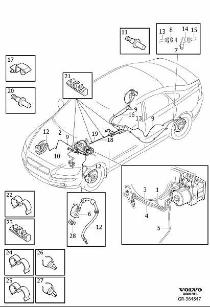 Volvo V50 Brake Pipe. Brake Line with Connections. D4162T