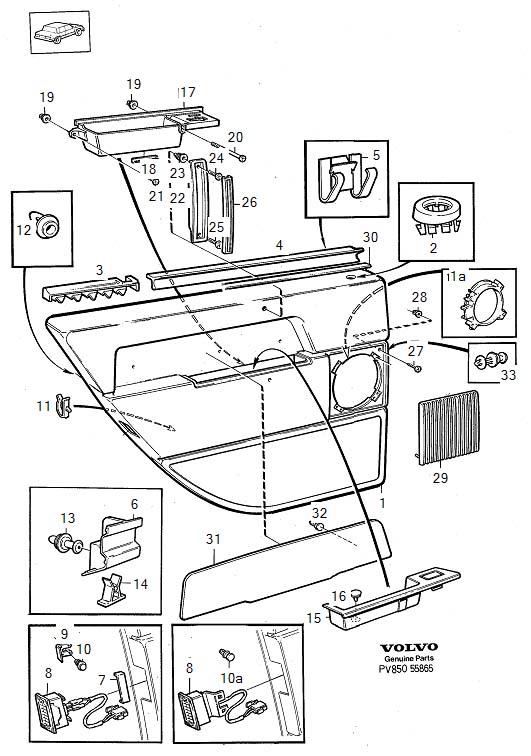 1992 Volvo Spacer Nut. Armrest. Parts Door Panel. (Rear