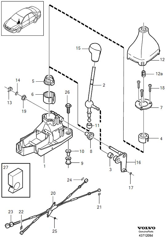 2000 Volvo C70 Manual Transmission Shift Knob. GEAR SHIFT