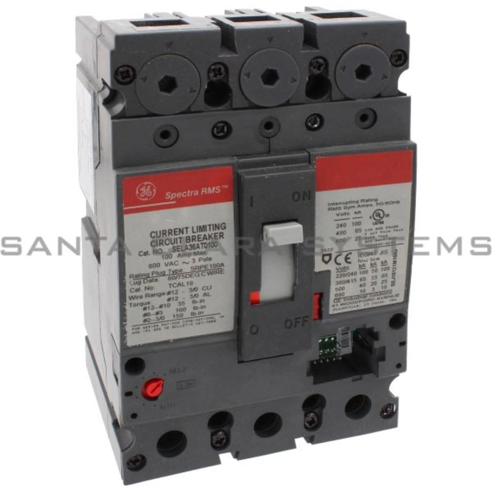 medium resolution of general electric sela 36at 0100 molded case circuit breaker 100 amp 600 volt ac