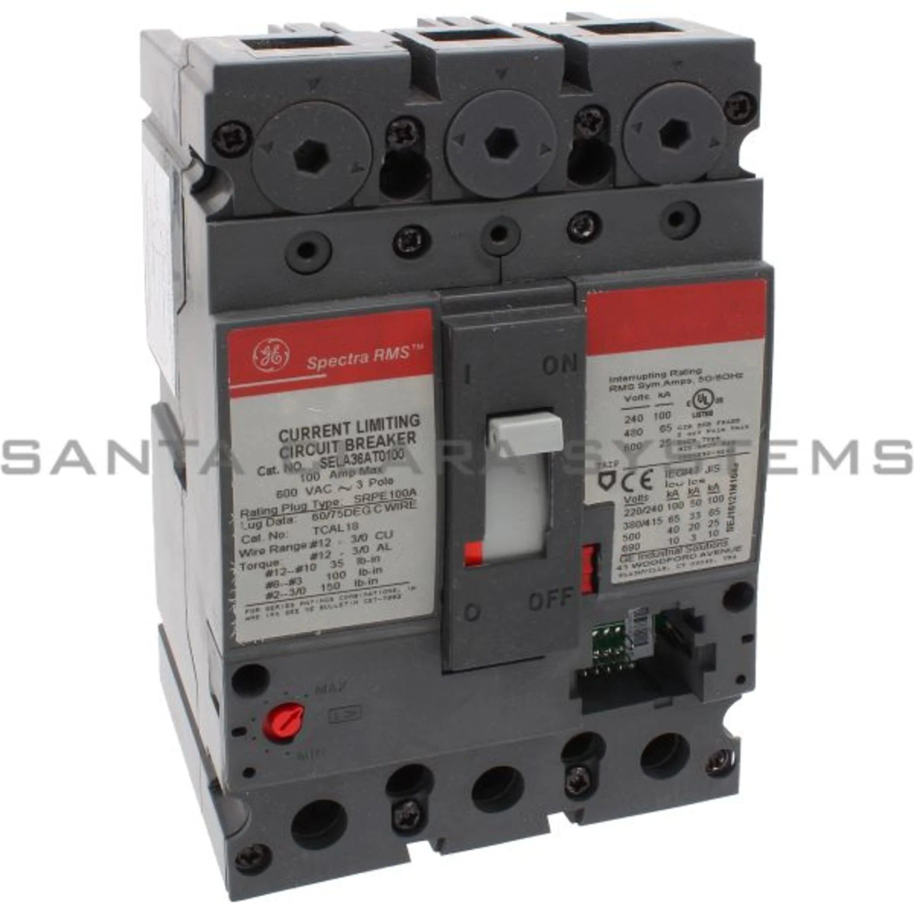 hight resolution of general electric sela 36at 0100 molded case circuit breaker 100 amp 600 volt ac