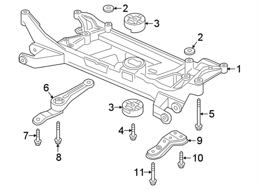 Audi TT Suspension Subframe Crossmember. 2.0 liter. 2.5