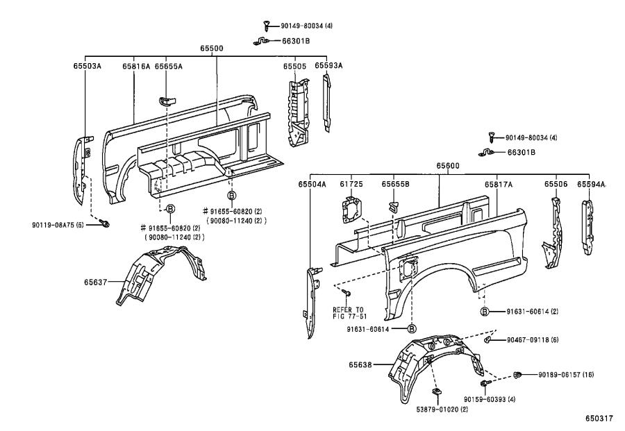Toyota Tacoma Truck Bed Panel (Left, Rear). Panel, Body