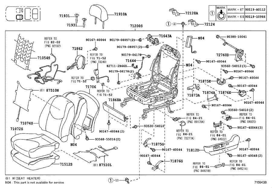 Toyota RAV4 Cable assembly, sub seat lock control. Side