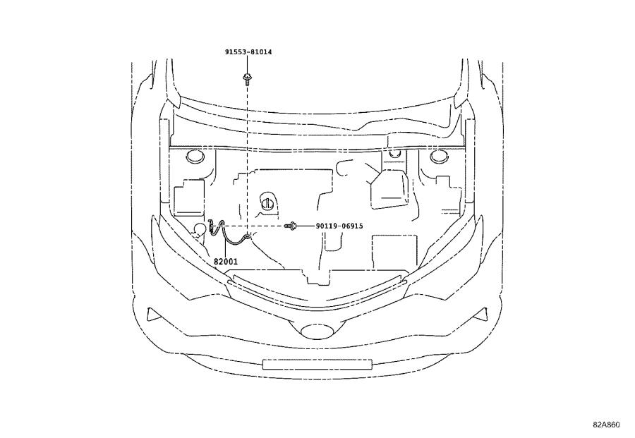 Toyota RAV4 Cover, wiring harness protector. Engine