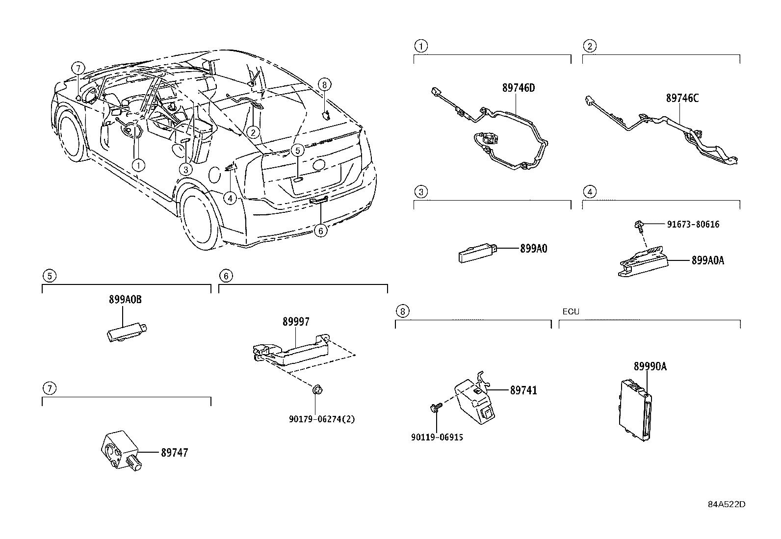 Toyota Prius Harness, electrical key wire, no. 1. Door