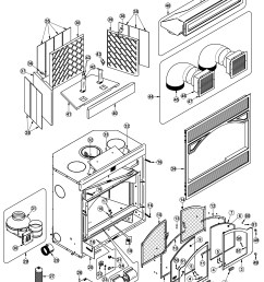 exploded view drawing and parts list me300 ventis wood fireplace [ 1963 x 2568 Pixel ]