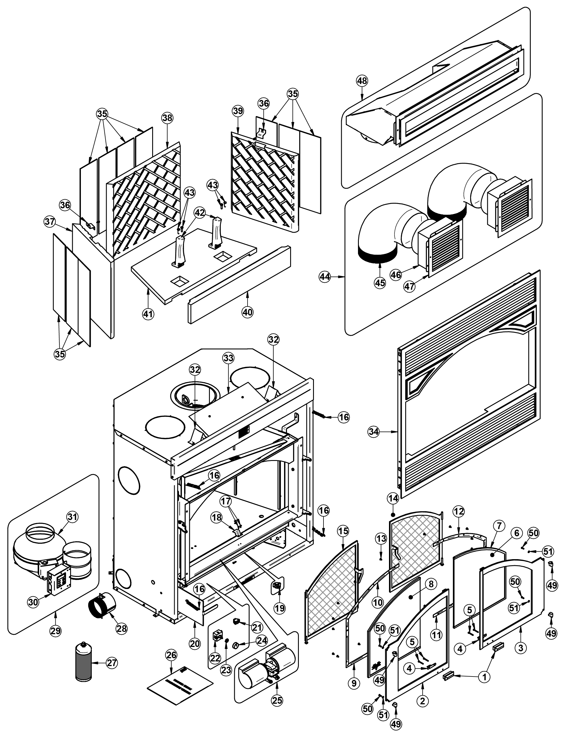 hight resolution of exploded view drawing and parts list me300 ventis wood fireplace