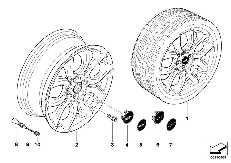2008 MINI Cooper S Clubman Light alloy rim, silver. 7JX17