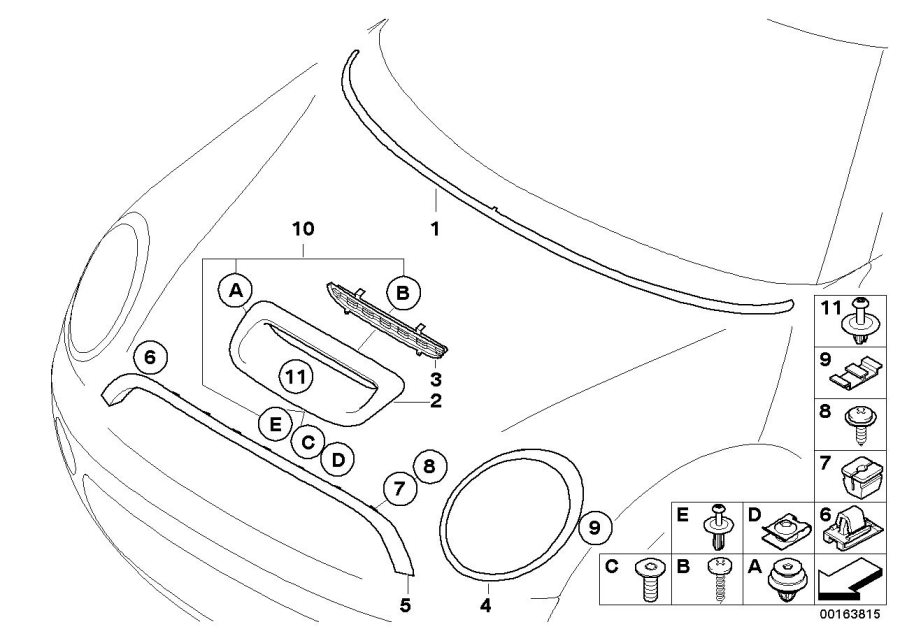 2011 MINI Cooper S Air-intake grill, Carbon. J. COOPER