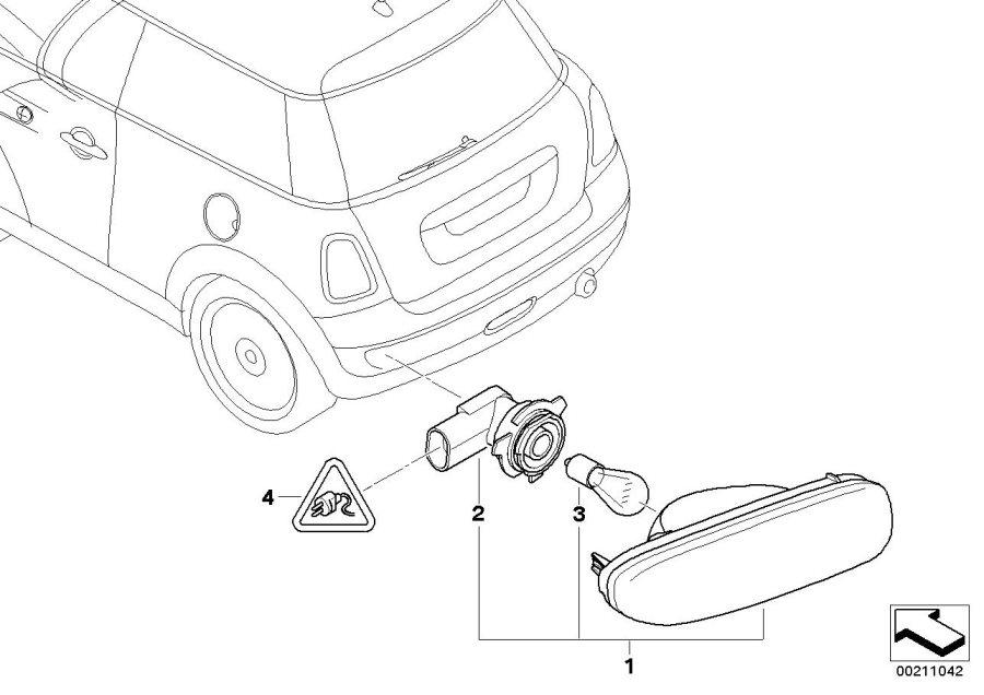 2011 MINI Cooper S Rear fog light, left. Works