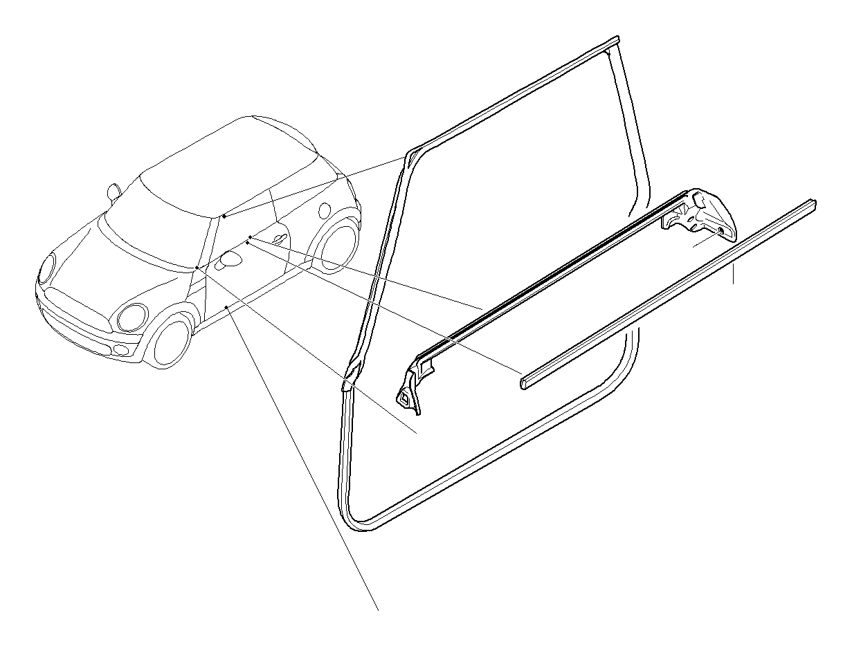 Mini Cooper S Inner Right Window Channel Cover Works