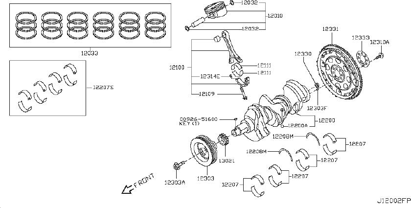 2014 INFINITI Q50 Engine Crankshaft Main Bearing. GRADE