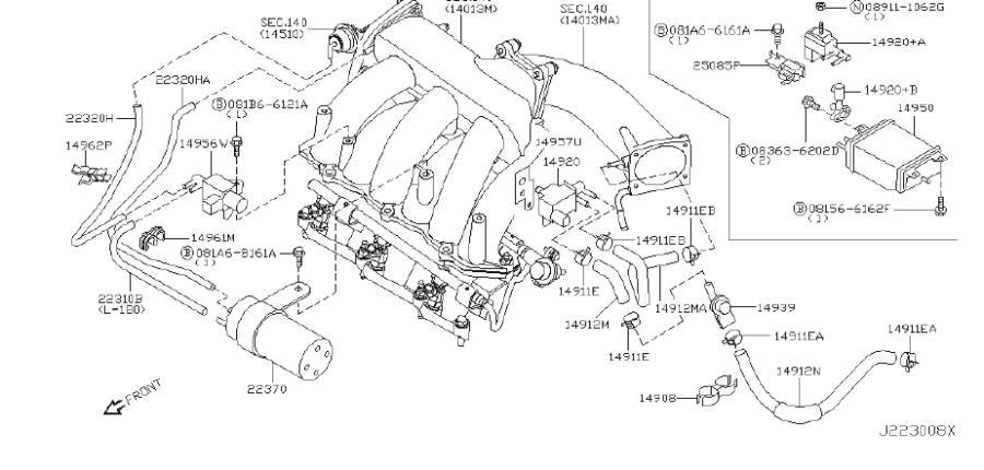 INFINITI I35 Vapor Canister Purge Solenoid Bracket. REAR