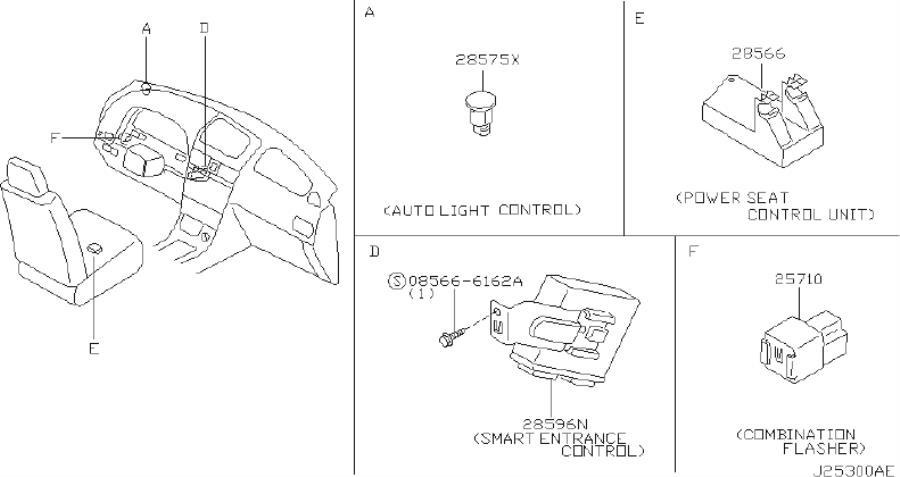 INFINITI I30 Air Bag Impact Sensor (Front). INST, DASH
