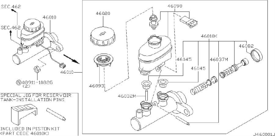 INFINITI I30 Brake Master Cylinder Reservoir Cap (Rear