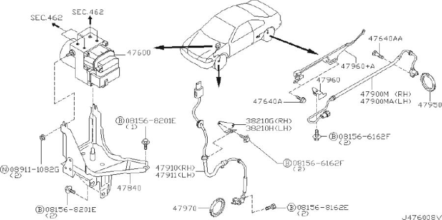 INFINITI I35 Abs Wheel Speed Sensor (Rear). TCS, WITHOUT