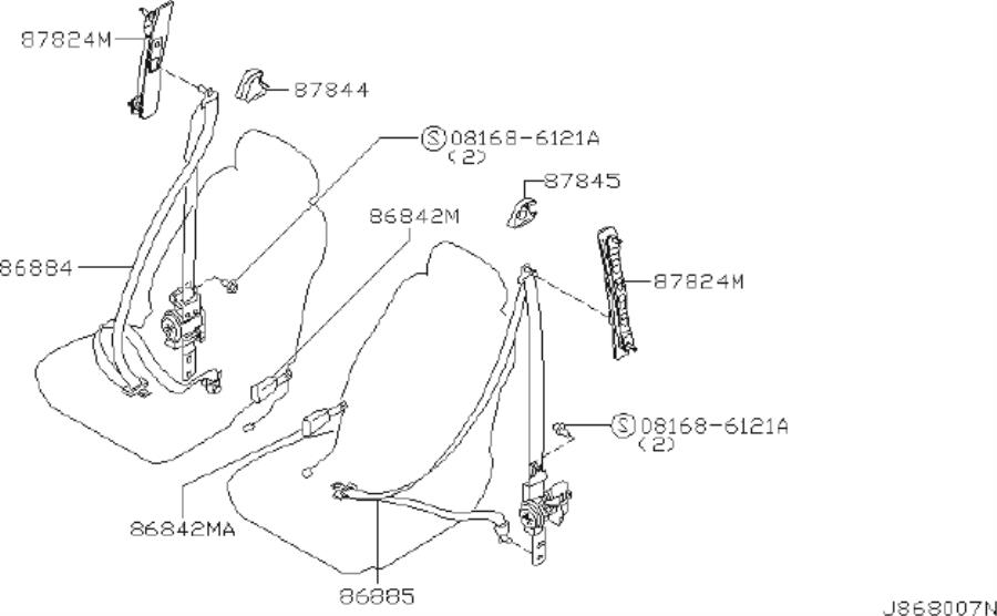 INFINITI I35 Seat Belt Lap And Shoulder Belt (Right, Front