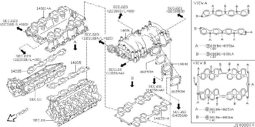 INFINITI Q45 Adapter Intake. ENGINE, COVER, EXHAUST