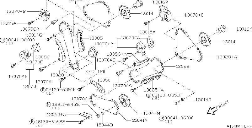 INFINITI Q45 Engine Timing Chain Tensioner. CHANE, VALVE