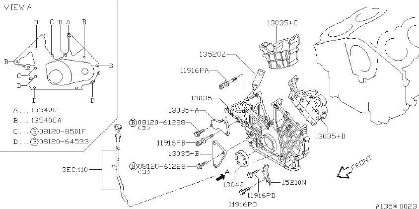 INFINITI Q45 Engine Timing Cover (Front). VACUUM, PUMP