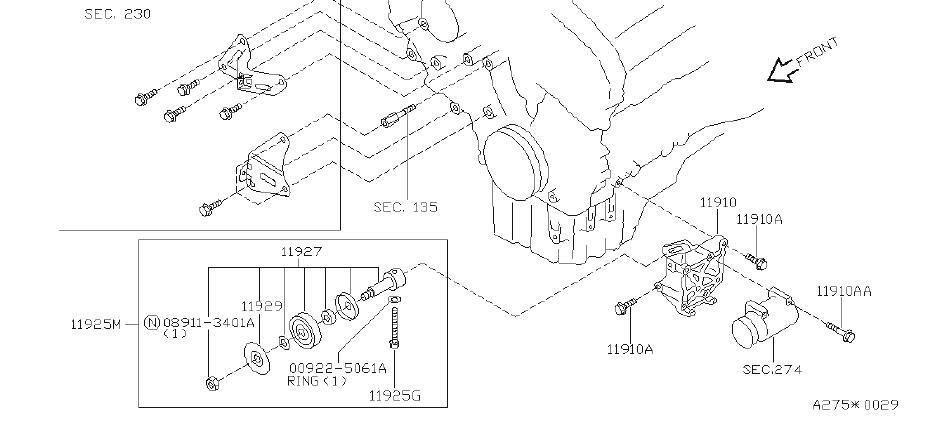 INFINITI Q45 Accessory Drive Belt Idler Pulley Bolt