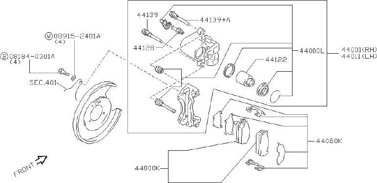 INFINITI Q45 Disc Brake Anti-Rattle Clip Set (Rear