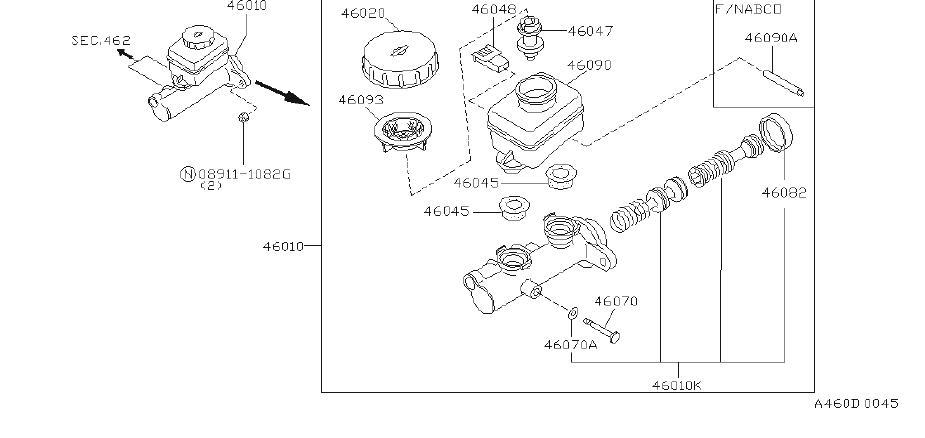 INFINITI Q45 Brake Master Cylinder Repair Kit. NABCO