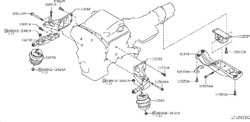INFINITI EX35 Transmission Crossmember (Rear). AWD, ENGINE