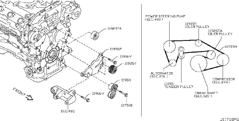 INFINITI EX35 Accessory Drive Belt Idler Pulley