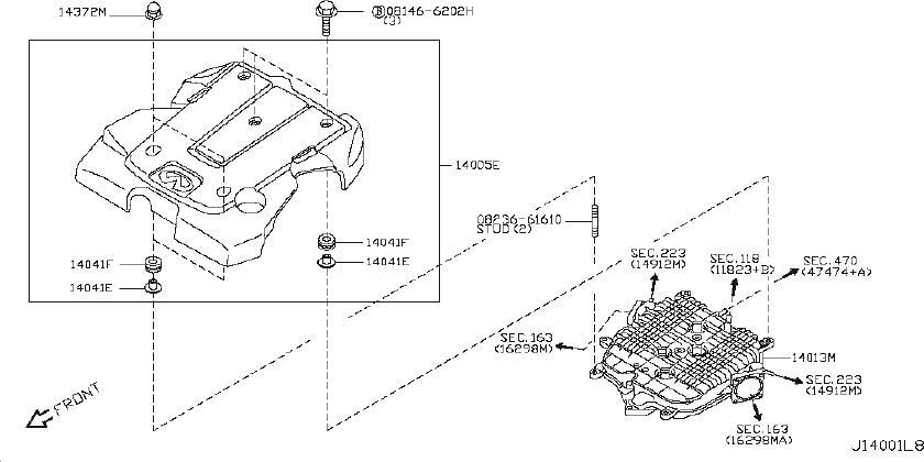 INFINITI EX35 Gasket Intake Adapter. Engine, EXHAUST