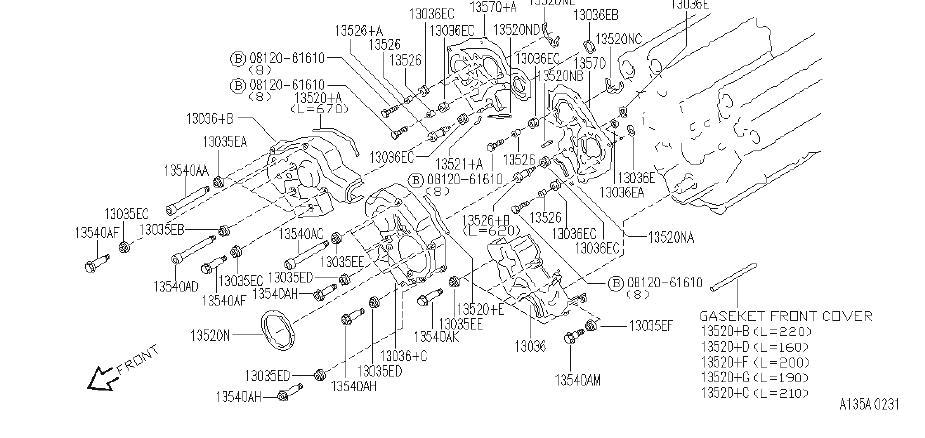 INFINITI J30 Engine Timing Cover Gasket (Front). FITTING