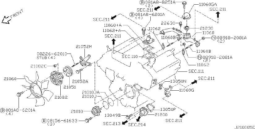 INFINITI QX4 Engine Cooling Fan Clutch. SYSTEM, PUMP