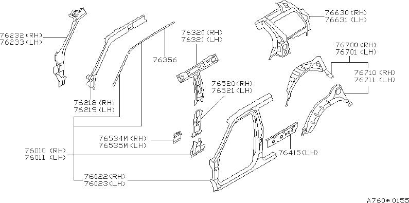 INFINITI QX4 Wheel Housing Side Panel (Left, Rear). BODY