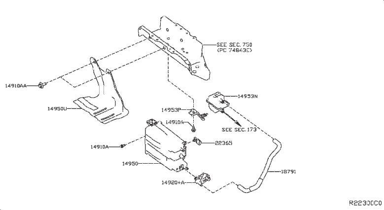 INFINITI JX35 Hose Vacuum Control. PIPING, EVAP, CANISTER
