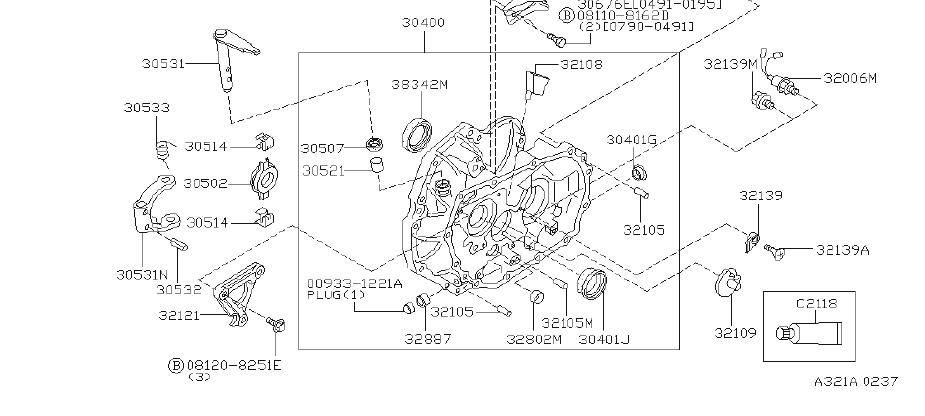 INFINITI G20 Seal Oil, Differential Clutch Housing. Seal
