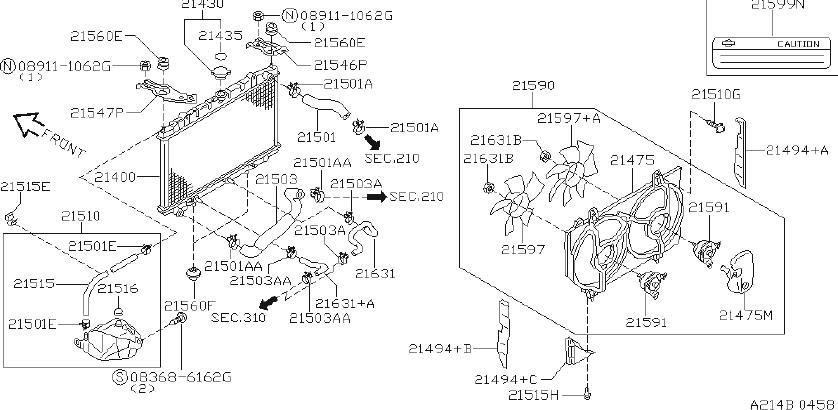 INFINITI G20 Tank Kit Radiator. (Lower). COOLING, SHROUD