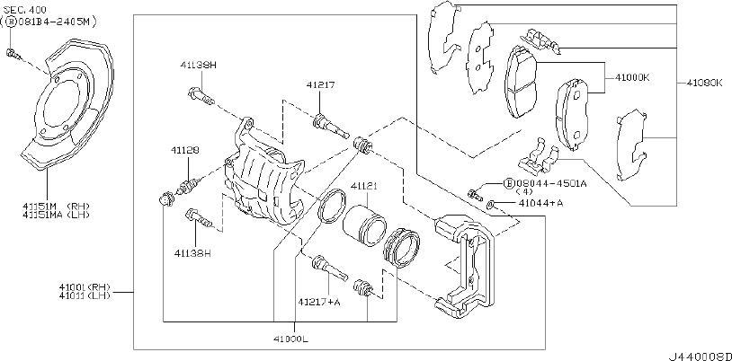 INFINITI I35 Brake Pad Maintenance ADVANTAGE. (Front