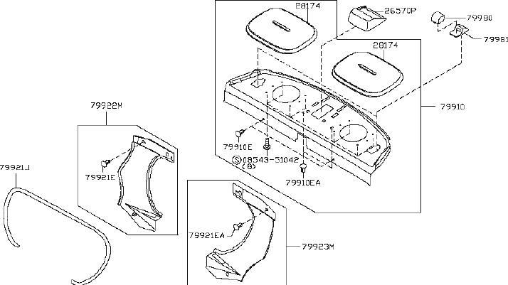 INFINITI G35 Speaker Cover (Rear). PACKAGE, SPOILER, BOSE